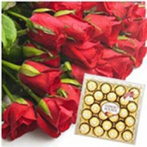 12 red roses with 24 ferrero rocher