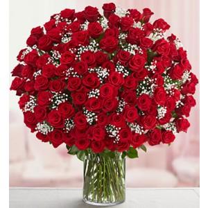 150 RED ROSES/VASE