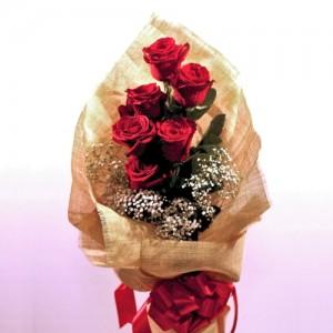 6 ecuadorian red roses bouquet
