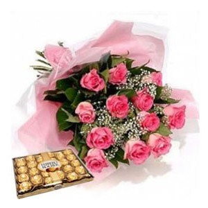 One Dozen Pink Roses and 24 Ferrero Chocolates
