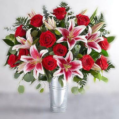 red roses & stargazer bouquet