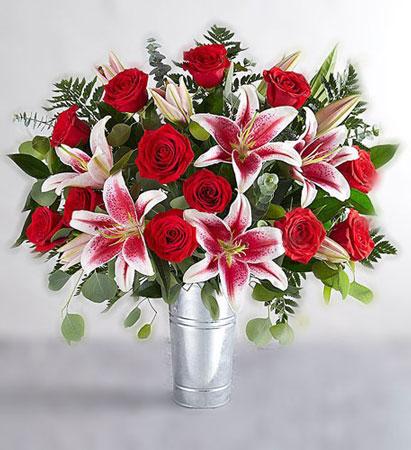 red roses & stargazer bouquet