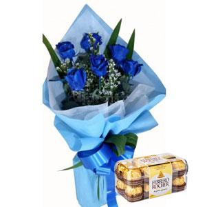 Blue Roses & Ferrero Rocher T16 Chocolates